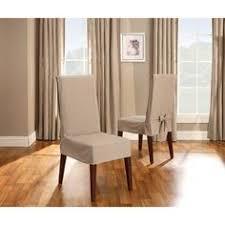 textured linen short dining room chair slipcover sand brown sure fit s dining room chair slipcovers chair slipcovers and