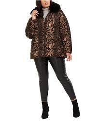 Tahari Outerwear Size Chart Plus Size Leopard Print Faux Fur Collar Puffer Coat