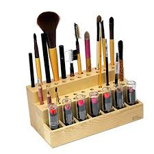 com ikee design wooden cosmetic make up brush eyeliner mascara holder with 7 lipstick compartments organizer and display beauty