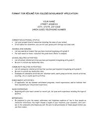 Scholarship Resume Cool Student Resume Template For Scholarships College Resume Format