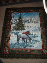 Wild in Bloom Fabric Panel / Wilmington / Horse Quilt Top Wall ... & HORSES QUILT Adamdwight.com