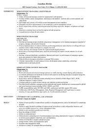 Web Content Manager Resume Samples Velvet Jobs