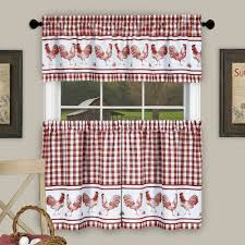 Kitchen Curtains With Rooster Designs Achim Barnyard Rooster Plaid Tier Valance Kitchen Curtain