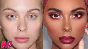 makeup artist turns a white woman into a black woman