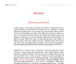 boxing be banned essay should boxing be banned essay