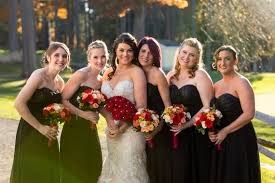 love the classic black bridesmaids dresses for a fall wedding plus those perfect autumn bouquets from frugal flower in sudbury