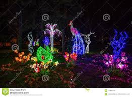 Animals In Christmas Lights Illuminated And Colored Animals At Christmas Time In The