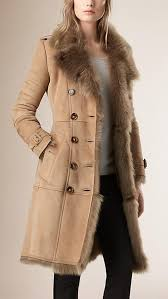 camel shearling leather women trench coat