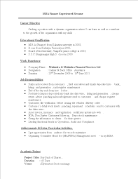 Free Resume Format For Mba Finance Experienced Templates At