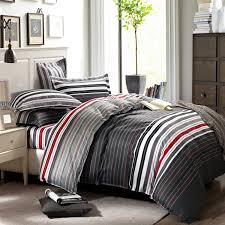 grey and red stripes printing 4pc bedding set queen bed Duvet ... & grey and red stripes printing 4pc bedding set queen bed Duvet/Quilt covers  bedclothes pillow shams sets 100% cotton-in Bedding Sets from Home & Garden  on ... Adamdwight.com
