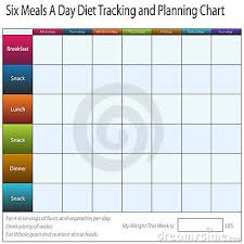 Food Monitoring Chart An Image Of A Six Meals A Weekly Day Diet Tracking And