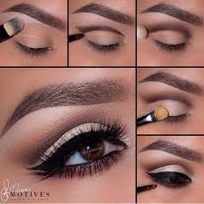 eye shadow on your eyelid and then add a dark brown shade lightly on the outer corner it is important to add a chagne shimmer across the eyelid and
