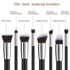 todo 8pcs pro face makeup brush set soft brush wood handle black silver