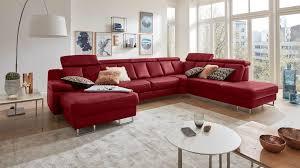 Interliving Sofa Serie 4050 Wohnlandschaft Rotes Longlife Leder Cloudy Red Chromfüße Stellfläche Ca 368 X 261 Cm