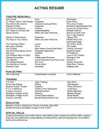 Acting Resume Skills Resume Online Builder