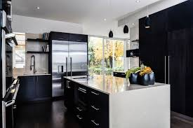Comfortable Black And White Kitchen Design With White Kitchen Table Top And Black  Kitchen Storage Also Ceiling Black Kitchen Pendant Lamp Ideas ...