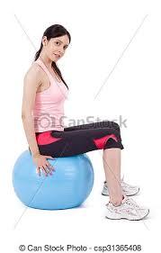 sitting on gym ball csp31365408