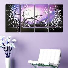 x27 purple abstract flowers art x27 hand painted canvas