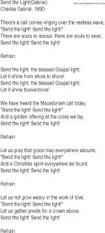 Let The Light In Lyrics Hymn And Gospel Song Lyrics For Send The Light Gabriel By