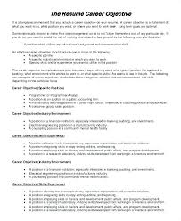 Career Objective For Experienced Resume Resume Job Career Objective Example Examples Of Resumes For Free 47