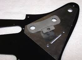 custom gilmour style black strat project the rear side of pickguard the custom stainless steel recessed mini toggle switch mounting bracket in the position location as it will be mounted and