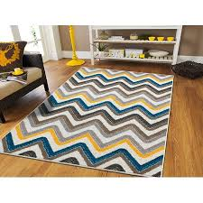 New Fashion ZigZag Area Rugs For Living Room 8x10 Blue Brown Cream Yellow Grey Best Dogs 8x11 Clearance Indoor and Outdoor Carpet