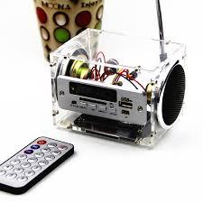 diy 2x3w multi function bluetooth wireless small power amplifier speaker kit with aux radio