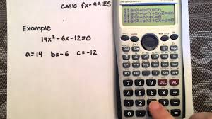 solving a quadratic using the quadratic formula and your calculator casio fx 991es e you
