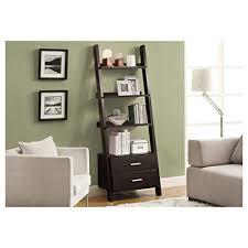 monarch specialties bookcase. Brilliant Monarch Monarch Specialties I 2542 Bookcase Ladder With 2Storage Drawers  Cappuccino To Bookcase