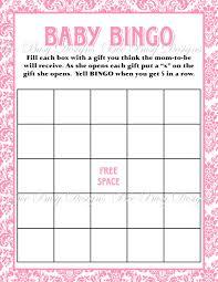 Printable Pink Damask Baby Shower Bingo Game New Baby Shower Games ...