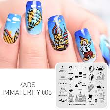Diy Manicure Designs Us 2 99 40 Off Kads Immaturity 005 Nail Stamping Plates Joyful Designs Nail Art Stamp Template Image Plate Diy Manicure Decoration Accessories In