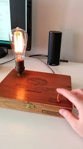 touch activated repurposed cigar box edison light bulb desk lamp with 3 level dimmer