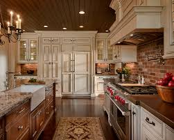 Brick Kitchen Large Kitchen With Brick Wall Design And Beige Cabinetry Also