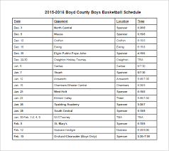 12 Basketball Schedule Templates Samples Doc Pdf Free