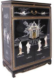 black lacquered furniture. 36 inches high oriental cabinet hand pearl felt lined drawer glass and shelf at black lacquered furniture