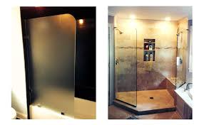 for visual effect they often utilize a radius corner on the entry side and also work well with obscure glass such as an acid etched piece over the tub