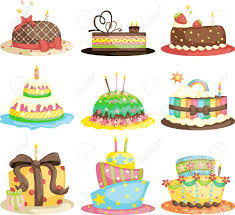 A Vector Illustration Of Different Gourmet Birthday Cakes Royalty