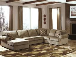 chic cozy living room furniture. Chic Cozy Living Room Furniture Ideas For Minimalist Apartment Of F The Feature Mocha Striped Fabric U Shaped Sectional Sofas With Dou 5