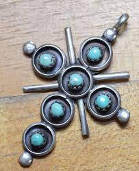 vintage southwestern sterling silver turquoise cross pendant 3722 premier precious metals