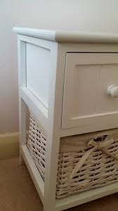 white storage unit wicker: surprising white bedside tables wicker storage basket table pair coffee full size