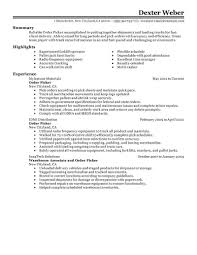 Cv Order Best Order Picker Resume Example Livecareer