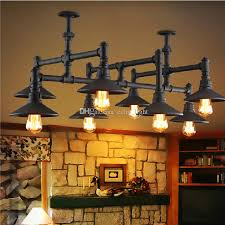 industrial vintage style loft water pipe light iron chandeliers hanging lamp for warehouse bar dining room edison fixture ceiling lighting cage chandelier