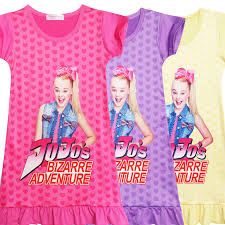 Us 12 44 17 Off Girl Kids Long Dress Jojo Siwa Cosplay Costume Bizarre Adventure European Short Sleeve Children Child Skirt Boomerang In Girls