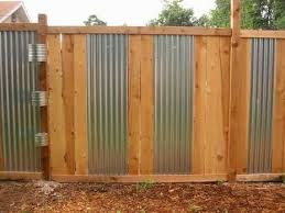Beautiful Sheet Metal Fence Wood And Corrugated Intended Inspiration