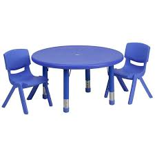 33 round adjule blue plastic preschool activity table set with 2 chairs 766885322612