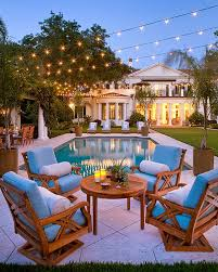 view in gallery exquisite outdoor space illuminated with string lights