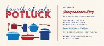 Pots Pans 4th Of July Potluck Party Invitation 4th Of