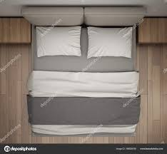 Bed top view Master Bed Modern Bedroom Top View Closeup Double Gray Cream Bed Parquet Stock Photo Depositphotos Modern Bedroom Top View Closeup Double Gray Cream Bed Parquet