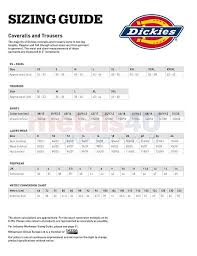 Dickies Coverall Size Chart Dickies Overall Size Chart