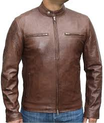 cafe racer wrinkled antique brown jacket